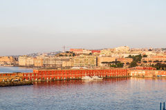 Colorful Buldings in Port of Naples at Dawn Stock Images
