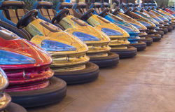 Colorful bumper cars. In a row royalty free stock photo