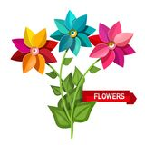 Colorful Bunch of Flowers Isolated. On White Background. Spring Flower. Bouquet Vector Floral Design stock illustration