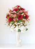 Colorful bunch of flowers in white vase Royalty Free Stock Images