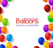 Colorful Bunch of Happy Birthday Balloons Vector Background Royalty Free Stock Photography