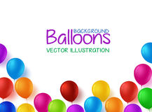 Colorful Bunch of Happy Birthday Balloons Vector Background. 3d Realistic Colorful Bunch of Happy Birthday Balloons Vector Background for Party and Celebrations Royalty Free Stock Image