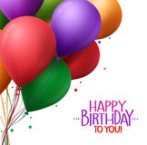 Colorful Bunch of Happy Birthday Greetings with Vector Balloons Royalty Free Stock Photo