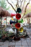 Colorful A bunch of loudspeakers. At garden park ,High resolution image gallery royalty free stock images