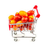 Colorful bunch of small grape tomatoes in shopping trolley isola Stock Photos