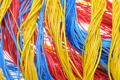 Colorful bundles of cables. Computer and internet network Royalty Free Stock Photos