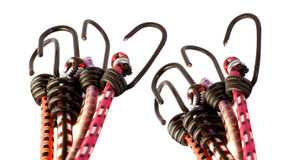 Colorful bungee rope hooks royalty free stock photos