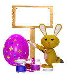 Colorful bunny with painting bunny. 3d bunny with white painting bunny Vector Illustration