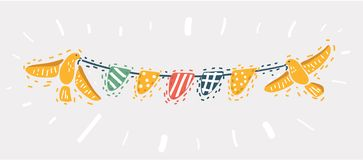 Colorful bunting for decoration of invitations royalty free illustration
