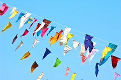 colorful bunting flags on blue sky Royalty Free Stock Images