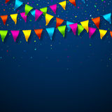 Colorful bunting flags with confetti. Festive background Royalty Free Stock Image
