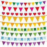 Colorful bunting flags set Royalty Free Stock Image