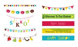Colorful bunting and garlands for Jewish holiday Sukkot Royalty Free Stock Photo