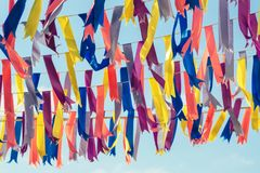 Colorful bunting party flags. In a sunshine day Stock Photo