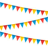 Colorful bunting party flags isolated on white background Stock Image