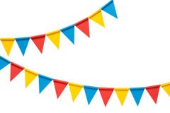 Colorful bunting party flags isolated on white background Royalty Free Stock Photo