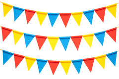 Colorful bunting party flags isolated on white background Royalty Free Stock Image