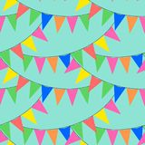 Colorful bunting party flags seamless pattern vector. Vivid party flags Royalty Free Stock Images