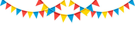 Colorful bunting party flags  on white background Stock Images