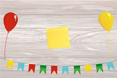 Colorful bunting on a rope with balloons. Empty space for text Y. Ellow sheet of paper for notes. Sticker. Garland of flags. Greeting card or birthday invitation Royalty Free Stock Photography