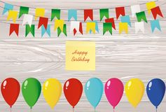Colorful bunting on a rope with balloons.  Yellow sheet of paper. For notes. Sticker. Garland of flags. Greeting card or birthday invitation. Empty space for Royalty Free Stock Photos