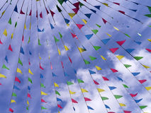 Colorful bunting in sky Stock Photos