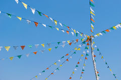 Colorful Bunting or triangle flag on the ropes and sky Royalty Free Stock Photography