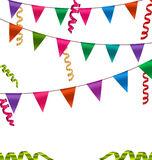 Colorful Buntings Flags Garlands and Serpentine Royalty Free Stock Image