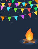 Colorful buntings night time festival flyer Royalty Free Stock Photo