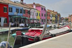 Colorful Burano buildings Royalty Free Stock Images