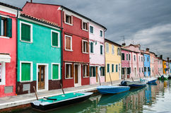Colorful Burano channel view, Venice Royalty Free Stock Image