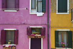 Colorful Burano Italy walls and windows Royalty Free Stock Photos