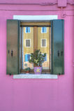 Colorful Burano Italy window Royalty Free Stock Photo