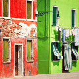 Colorful Burano street details Stock Image