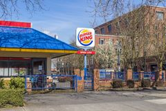 Colorful Burger King Restaurant royalty free stock photo