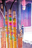 Colorful burning incense sticks at White Cloud taoist temple Royalty Free Stock Photography