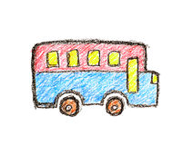 Colorful bus childlike crayon drawing Royalty Free Stock Photo