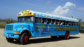 Colorful bus coach in Aruba Stock Photography