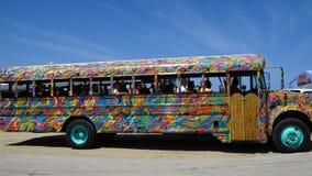 Colorful bus coach in Aruba Stock Image