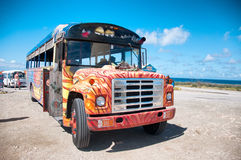 Colorful Bus Coach in Aruba. Picture of colorful bus coach in Aruba Royalty Free Stock Photo