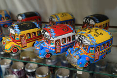 Colorful bus model in La Boca, Argentina royalty free stock photos