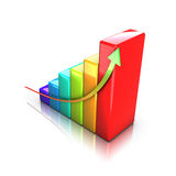 Colorful business 3D graph. Business 3D graph with arrow showing profits and gains Stock Photography
