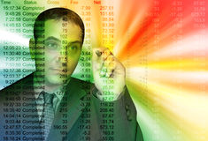 Colorful Business Accountant Man. A businessman is pointing at financial figures over an abstract background Royalty Free Stock Images