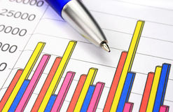 Colorful business chart. And blue pen Stock Photos