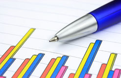 Colorful business chart. And blue pen Stock Photo
