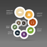 Colorful Business Chart - Infographic Design. Infographics Concept Design, Spiralling Circular Diagram Template with Icons for Business or Technology Stock Photos
