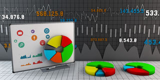 Colorful Business Chart, Reports and Presentations. 3d Illustration of Colorful Business Chart, Reports and Presentations Stock Photo