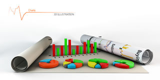 Colorful Business Chart, Reports and Presentations Stock Photos