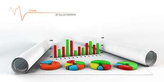 Colorful Business Chart, Reports and Presentations Royalty Free Stock Photography
