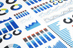 Colorful Business Charts. Business charts and diagrams on paper stock image